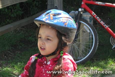 Bike riding safety - child in helmet
