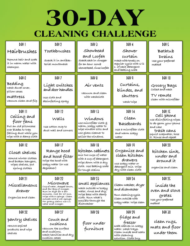 Spring Cleaning Tips Your Checklist And 30 Day Cleaning