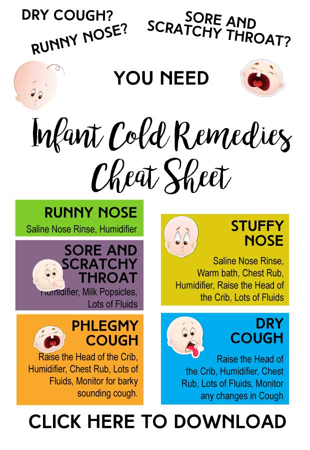 Keep this Infant Cold Remedies Cheat Sheet close and be ready for he next sniffle or cough!