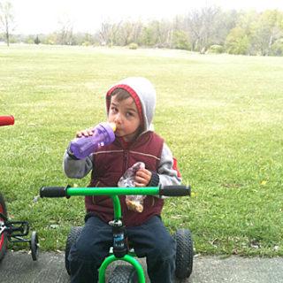Boy on small trike