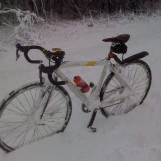snow bicycle ride - bike snowed in