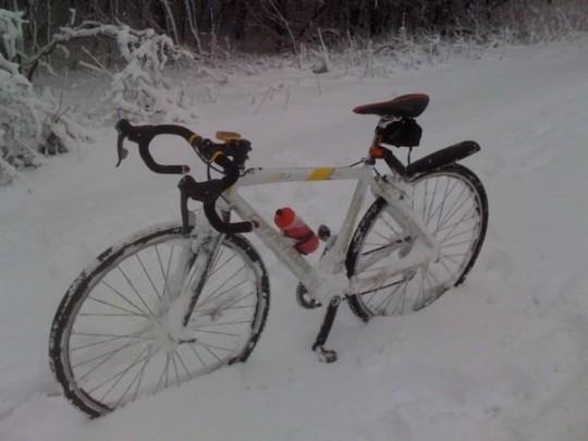 snow bicycle ride - bike snowed in