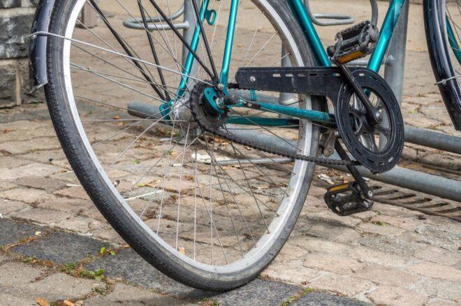 broken bicycle on road