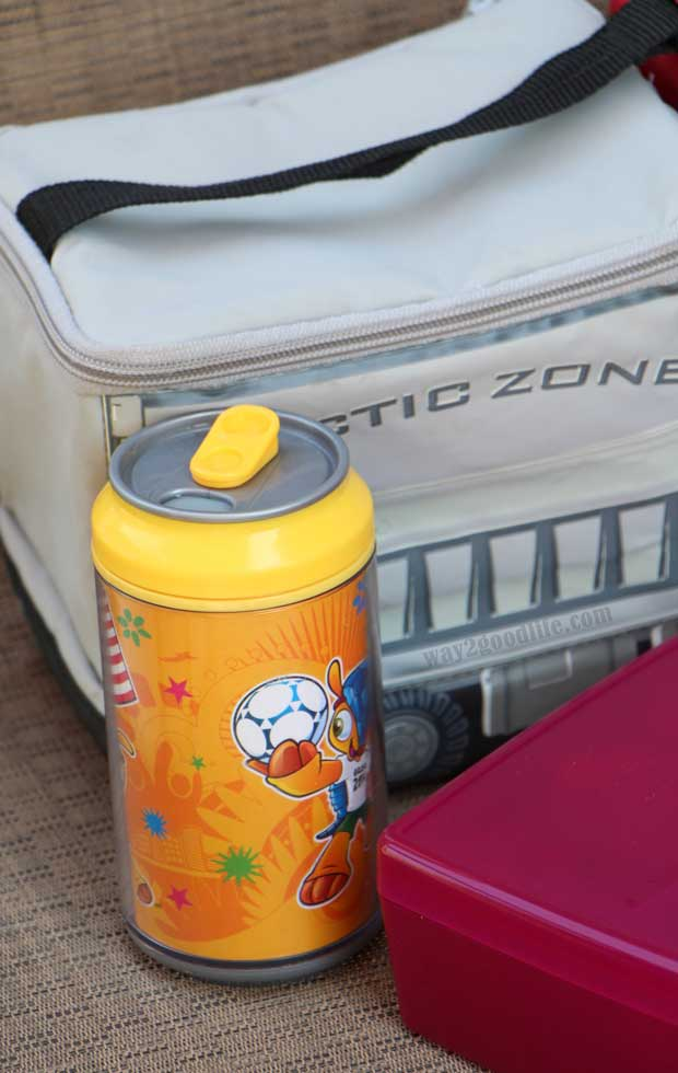 Pack a Snack for Camp - drinking can next to lunch box