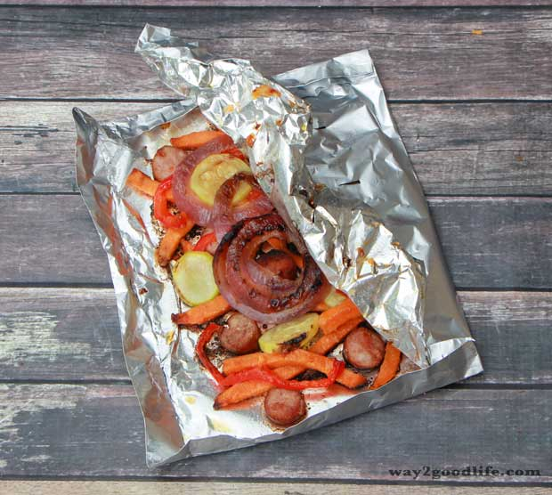 Polish-Sausage-Dinner-grilled-in-pouch