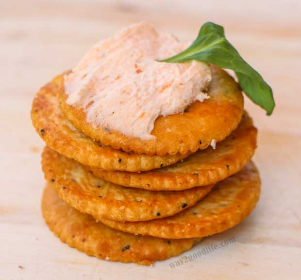 Pack a Snack for Camp - Stack of crackers with cream cheese