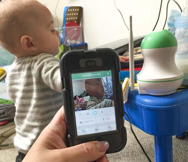 Looking-at-baby-monitor