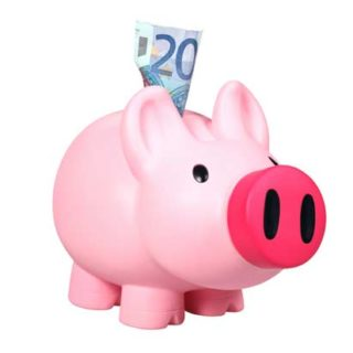 Image of a piggy bank with money sticking out of it