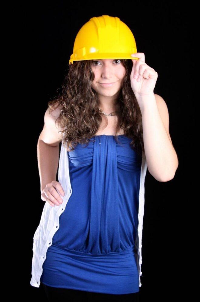 13 yo Teen girl in construction head