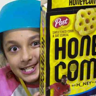 Goofy girl with Honey Comb Cereal Box