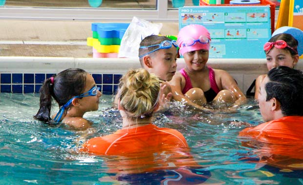 Group of boys and girls in Goldfish swim pool