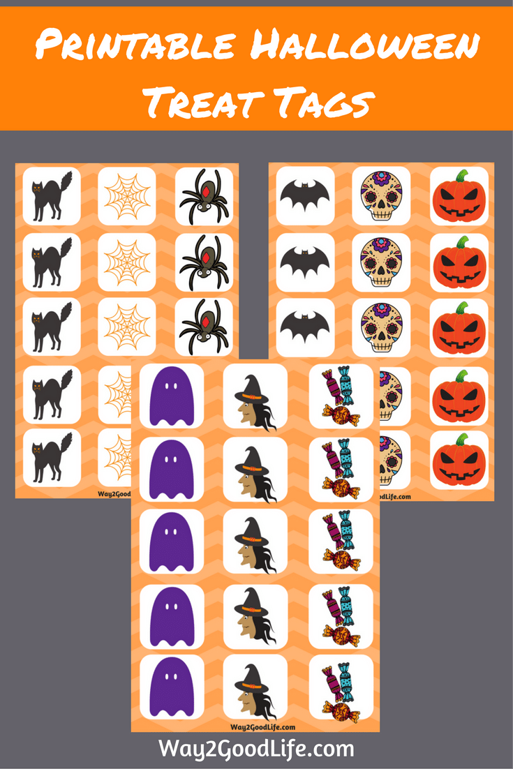 Printable Halloween Treat Tags are a fun budget friendly Halloween idea! Add these to regular candy to make them Halloween themed in seconds! #Halloween #halloweenactivities #Way2GoodLife #kidsactivities