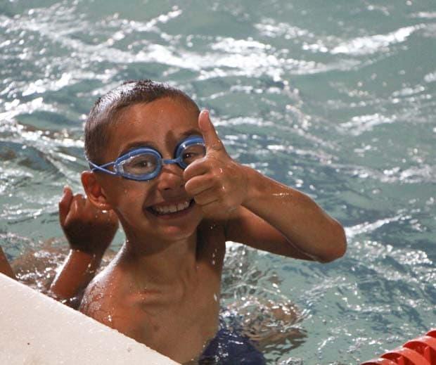 My boy happy to swim