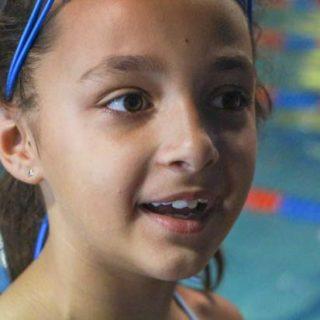 Girl googles swim pool