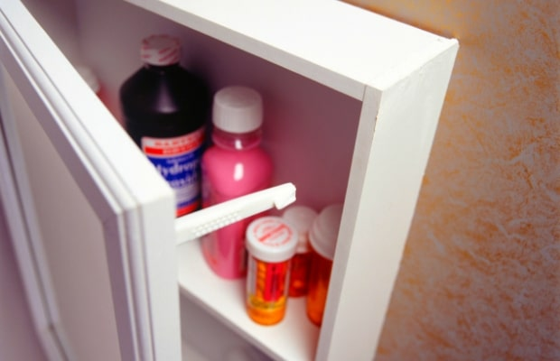 half open medicine cabinet