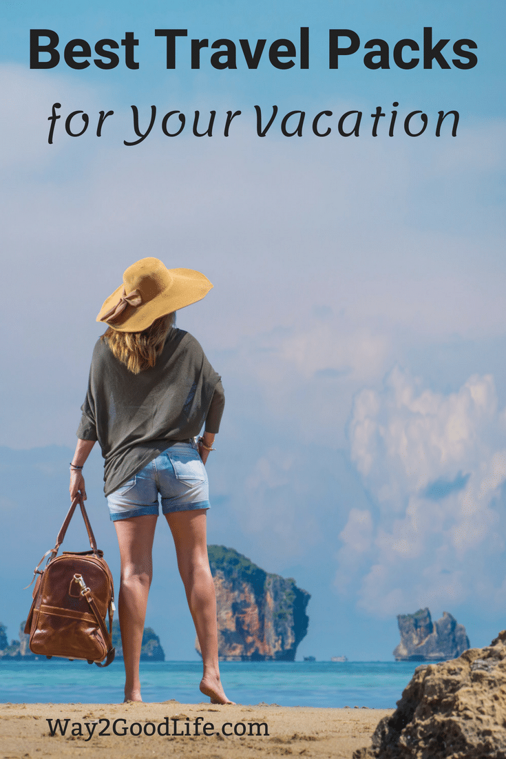 Check out our picks for best Travel Packs to make your vacation easier!  We have tons of tips for luggage and carry on bags as well as great backpacks for day hikes and more! #summer #vacation #Way2GoodLife #roadtrip #traveltips
