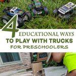 Four educational ways preschoolers can play with trucks #homeschool #preschooler #Way2GoodLife #Summer #MonsterTrucks #HotWheels #ad