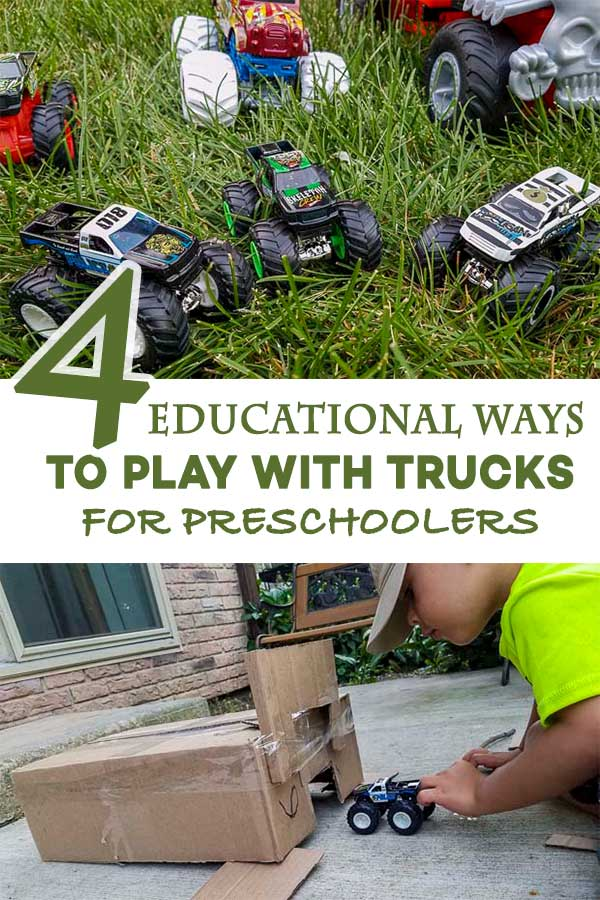 Four educational ways preschoolers can play with trucks #homeschool #preschooler #Way2GoodLife #Summer #MonsterTrucks #HotWheels #ad