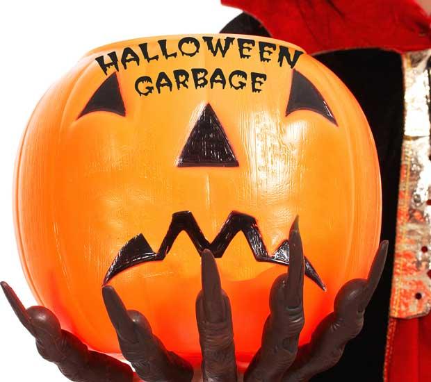 Halloween Garbage pumpkin sad