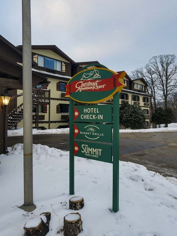 Chestnut Mountain hotel in winter check-in