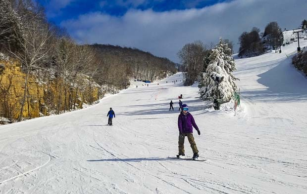 The Chestnut Mountain Resort ski mountain on bottom