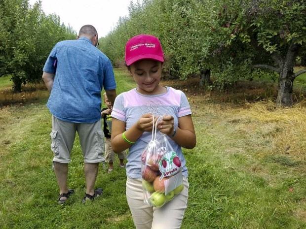 Hendricks Orchard girl walks with bag of apples