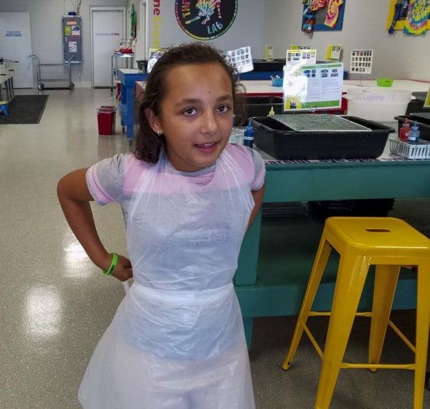 Hendricks Tie Dye Lab girl in apron