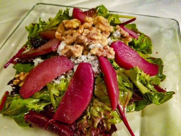 Walnut & Poached Pear Salad at Palm Court in Arlington Heights