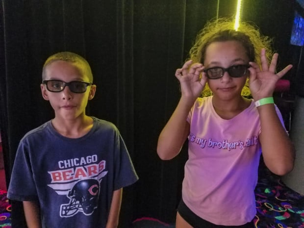 Kids wearing glasses in Ghostly Manor Port Clinton