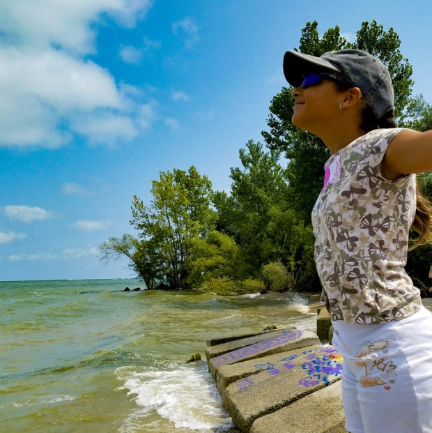 Put-in-Bay Girls stands by water