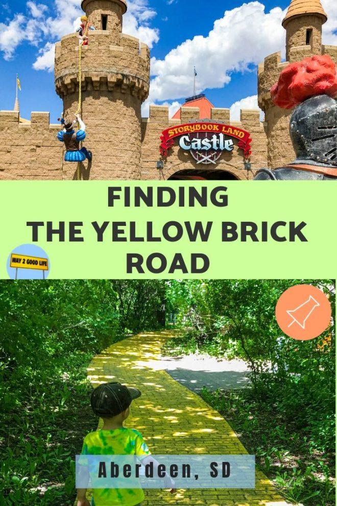 Boys walks on yellow brick road at at Land of Oz in Storybook Land Aberdeen South Dakota