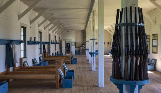 Inside of barrack of military fort of 1890 at Abraham Lincoln State Park