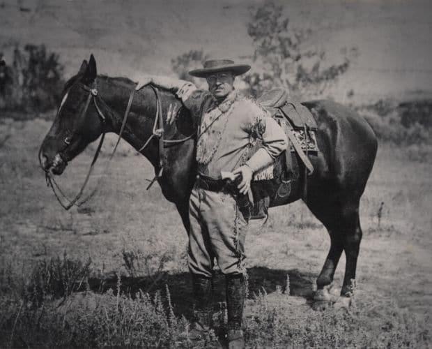 Theodore Roosevelt with his horse in Medora North Dakota
