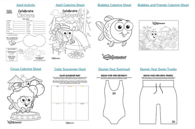 Images of printable options for the Goldfish Swim School