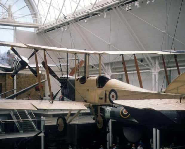 An old-time two-seat plane in a museum