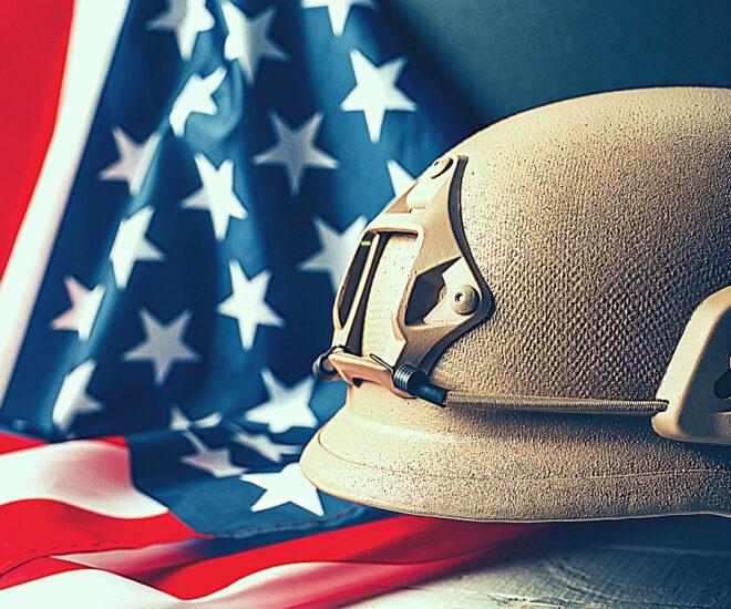 Miltary Museum - solder helmet on American flag background