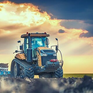 Tractor Museums - yellow tractor in sunset