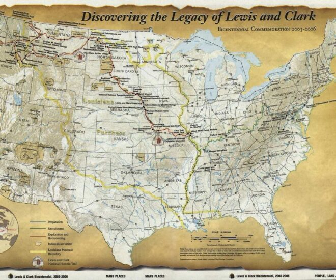 The old map showing Lewis and Clark expedition trails