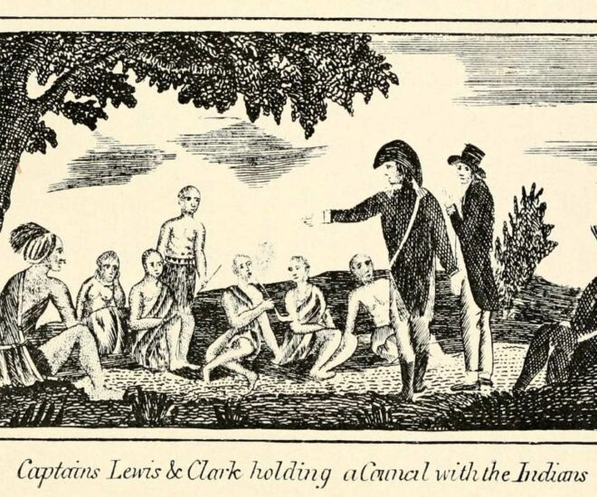Lewis and Clark speak to Native Indians