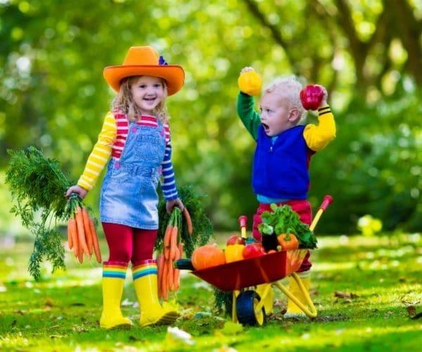 Kids hold vegetables in the garden