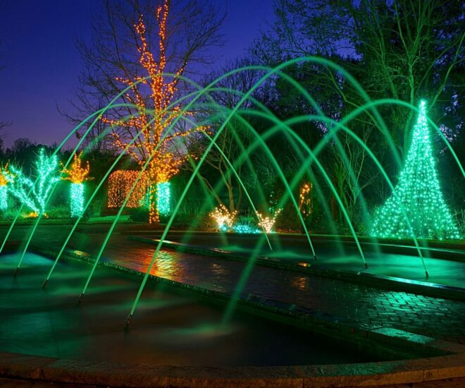 Holiday Christmas lights displays with fountain water
