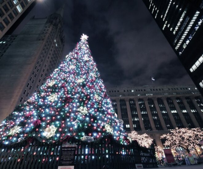 Holiday Christmas lights on Christmas Tree in Chicago