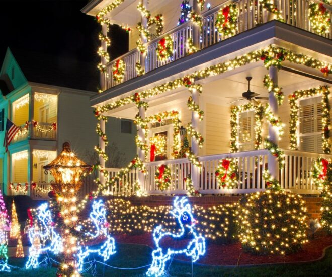 Holiday Christmas lights on decorations and house