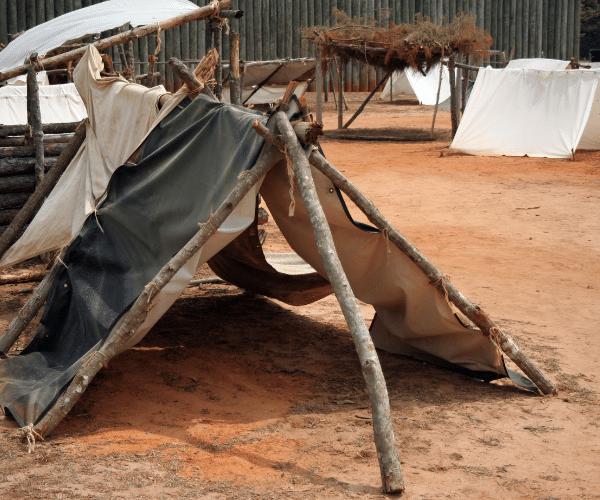 Replica of POW camp tent