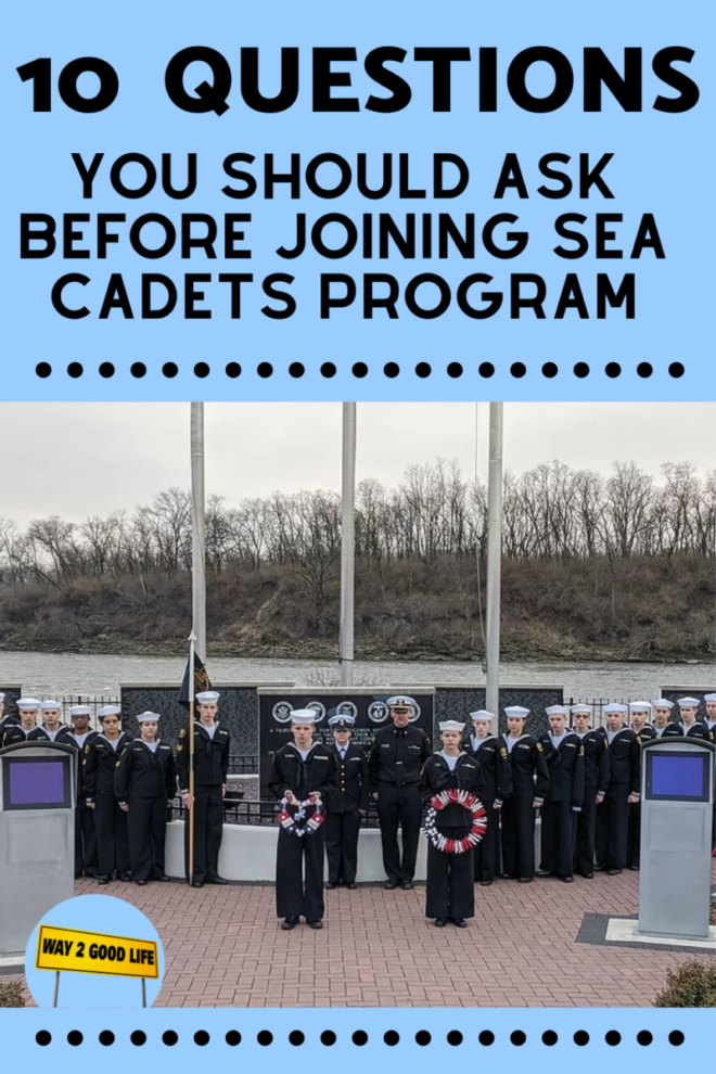 Sea cadet in dress blues with wreaths
