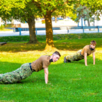 Sea cadet boys doing pushups