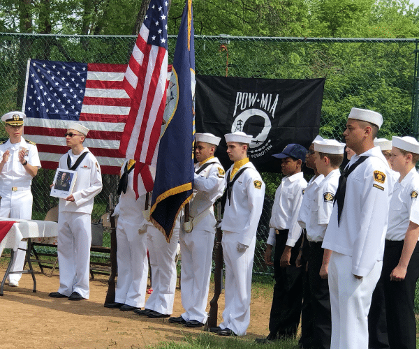 Sea cadet in dress whites at the parade