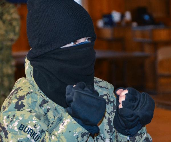 Sea cadet league cadet boy dressed for winter drill